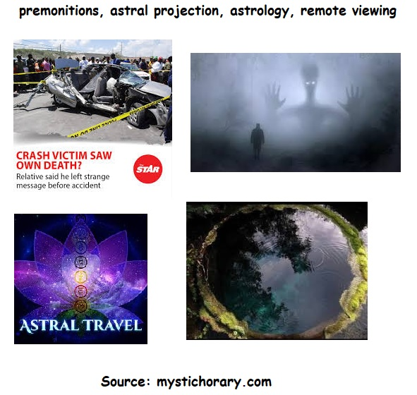 premonitions, astral projection, astrology, remote viewing